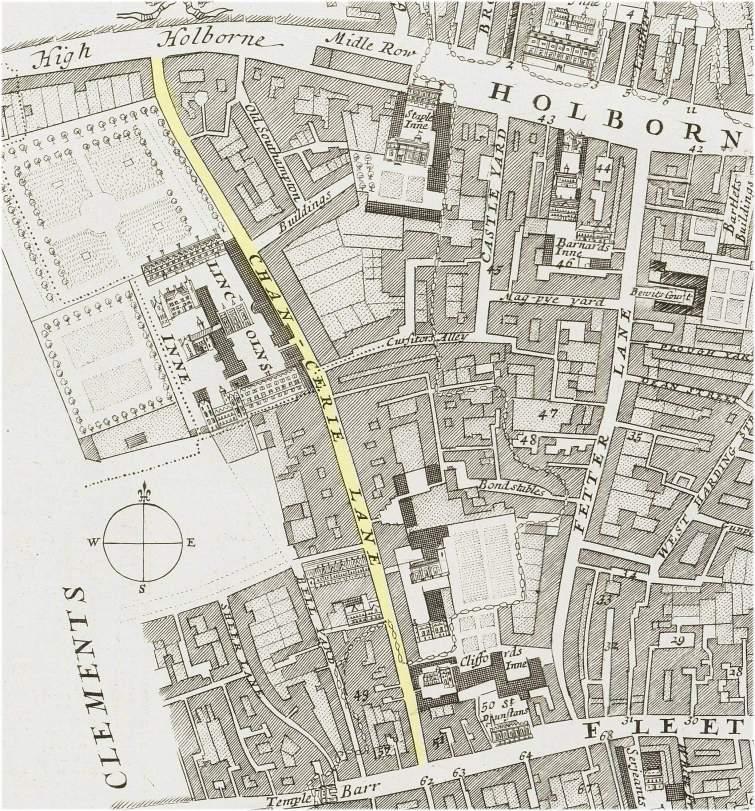 The location of Chancery Lane, London (c.1720)