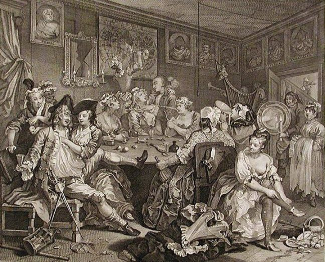 William Hogarth's A Rake's Progress: The Rake at the Rose Tavern (1734)