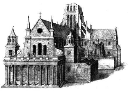 The Parish Church of St. Gregory's by St. Paul's which was located located at the south-west end of old St. Paul's Cathedral in the City of London before both were destroyed in the Great Fire of September 1666
