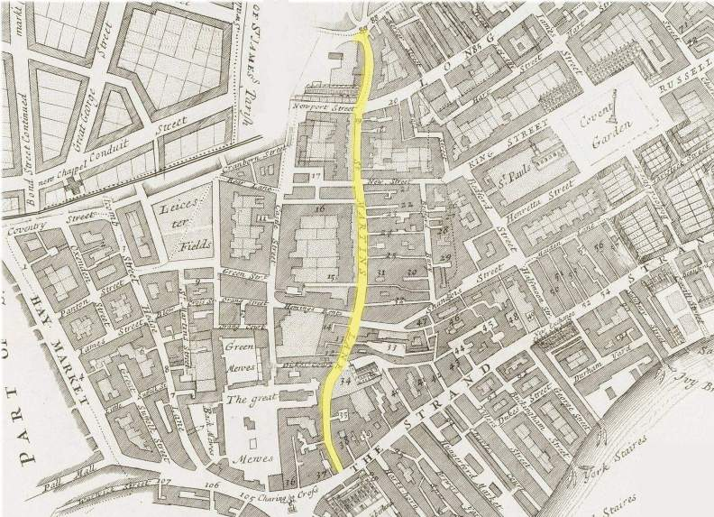 The location of St. Martins Lane, Westminster (c.1720)