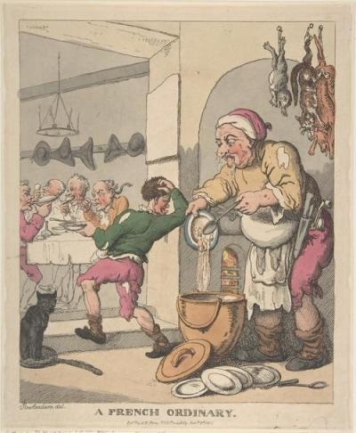 "Thomas Rowlandson's satirical depiction of ""A French Ordinary"" where dead cats and ""slops"" are all on the menu."
