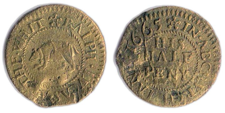 A half penny token issued in the name of the White Bear Tavern in Abchurch  Lane