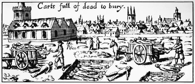A contemporary wood cut illustrating the mass burial of London plague victims in 1665. Such scenes were almost certainly played out in the parish church yard in Stepney.