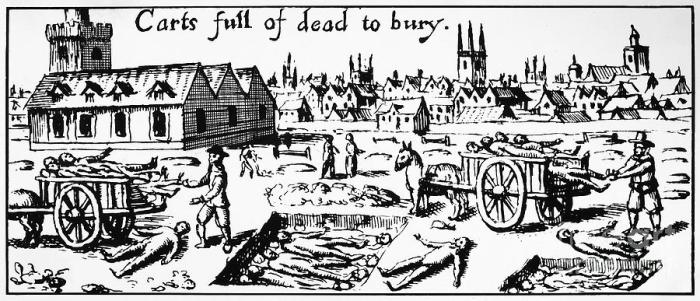 A contemporary wood cut illustrating the mass burial of London plague victims in 1665