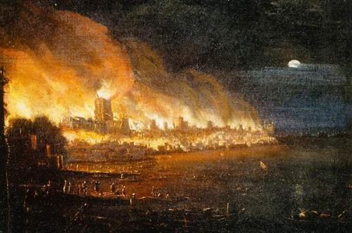 A contemporary oil painting of the Great Fire of London from the River Thomes looking across to Old St. Paul's Cathedral