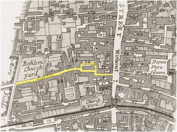 The location of the Bedlam or Bethlem district of Bishopsgate Without, London (c.1720)