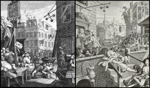 """Beer Street"" and ""Gin Lane"" - William Hogarths satirical and contrasting prints (1751) promoting the merits of drinking tradditional and vertuous ale versus those of partaking in the more demonic alternative of distilled spirits"