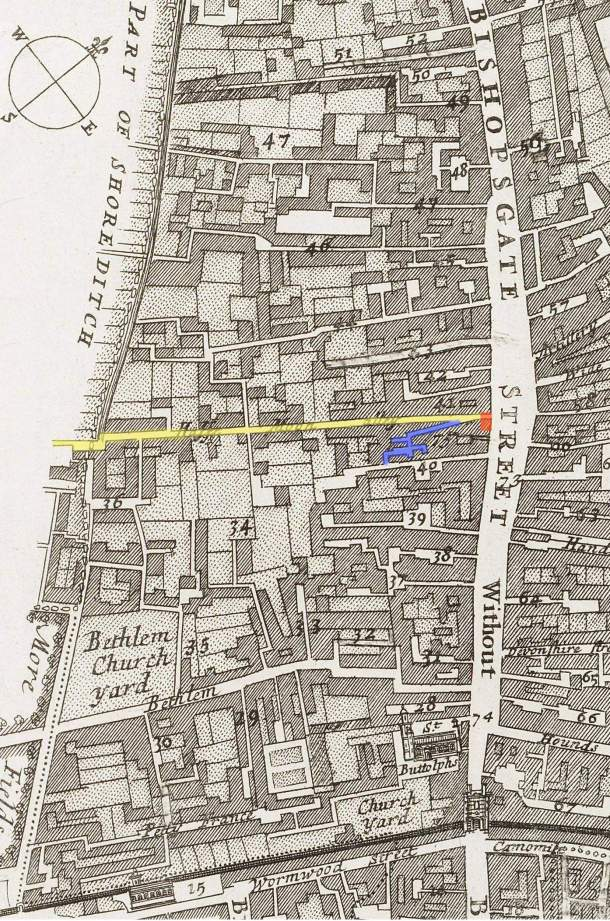 The location of the Half Moon Alley and Court (in yellow and blue respectively) plus Sir Paul Pindar's house (in red) at the entrance to the alley of Bishopsgate Street, London (c.1720)