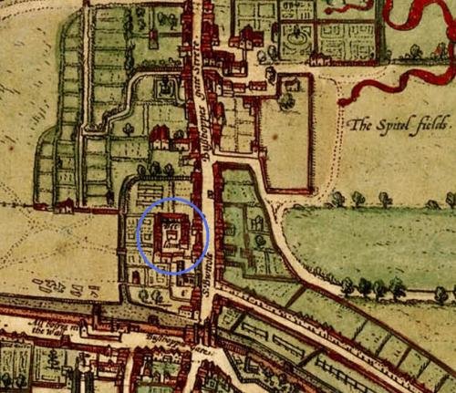 "Detail from a map of Elizabethan London (1572) taken from ""Civitates orbis terrarum"" showing the location of Bethlem Hospital in the Bishopsgate Without Ward of the city"