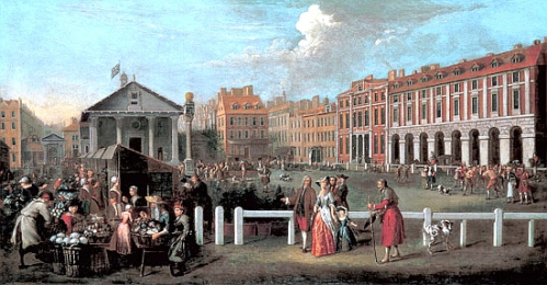 Covent Garden in 1737. St. Paul's Parish Church can be seen at the rear of the piazza