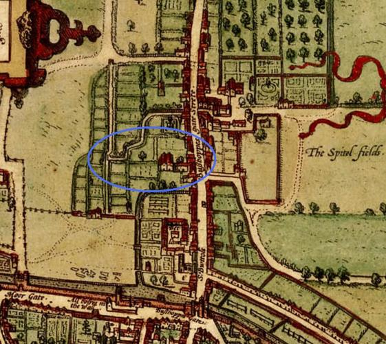"Detail from a map of Elizabethan London (1572), taken from ""Civitates orbis terrarum"" showing Bishopsgate Street Without and the mansions and gardens along it. The area indicated in blue is that of the Half Moone Brew House and Alley."