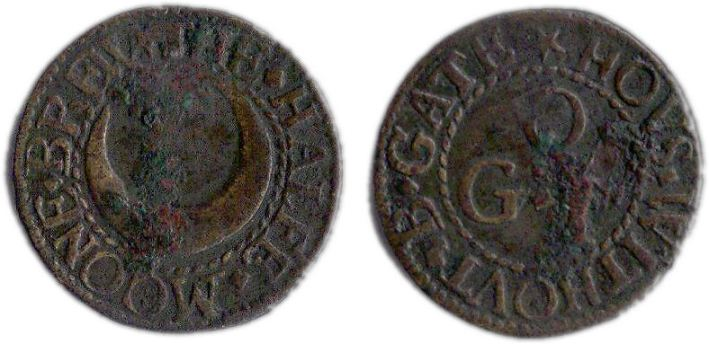 A farthing token issued in the name of the Half Moon Brew House in Bishopsgate Without, London