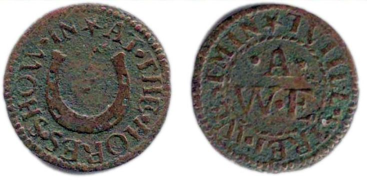 A farthing token issued by a tradesman operating from the sign of the Horse Shoe  in Toothill Street, Westminster