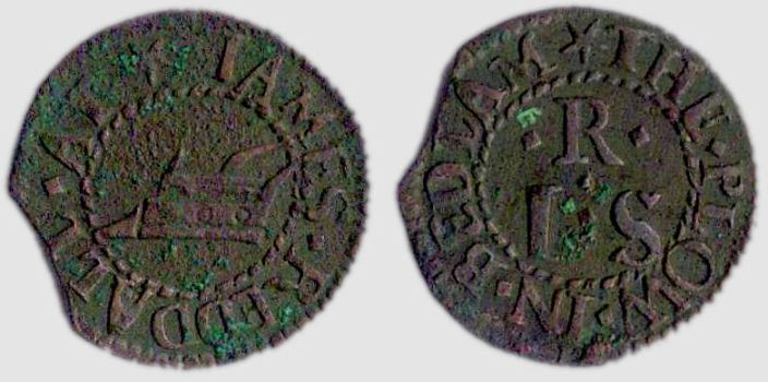 A farthing token issued in the name of James Reddall of the Plough in Bedlam, Bishopsgate Without, London