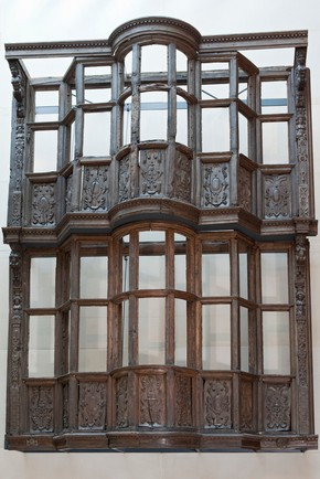 The wooden house façade, built 1599-1600, for Sir Paul Pindar, for his house at the corner of Half Moon Alley and  Bishopsgate Street Without, London (Victoria & Albert Museum, London)