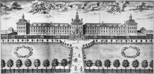 Engraving by Robert White of the new Bethlem Hospital designed by Robert Hooke and built at Moorfields, outside of the City of London in 1676