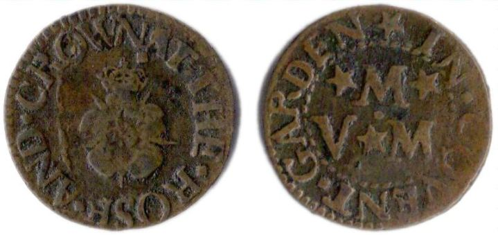 A farthing token issued by a tradesman operating from the sign of the Rose and Crown  in Covent Garden, Westminster