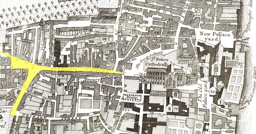 The location of Tothill Street , Westminster (1720)