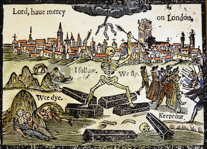 A contemporary wood cut illustrating the plight of London during the out break of the Bubonic Plague in 1665