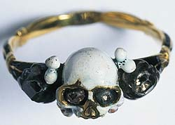 A mid 17th Century Deaths Head Type Funerary Ring from London