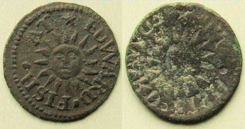 A farthing token of Edward Fish of Wapping illustrating a reverse side brockage