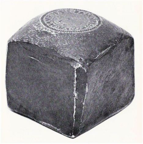 The obverse die of a mid-17th century trademan's token issued by Thomas Price of Gloucester, England