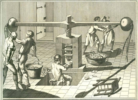 Depiction workers striking coins using a Fly Press in a late 17th or 18th Century Mint