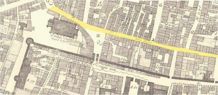Fore Street in the Parish of St. Giles Without Gripplegate from John Ogilby & William Morgan's 1676 Map of the City of London