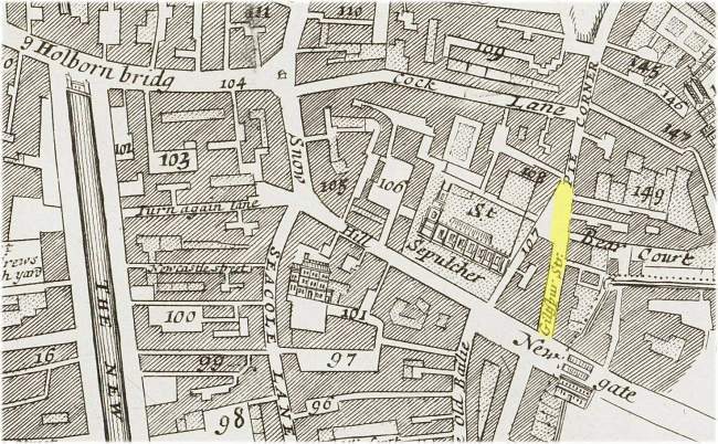 The location of Giltspur Street  opposite the Newgate entrance to the City of London (c.1720)