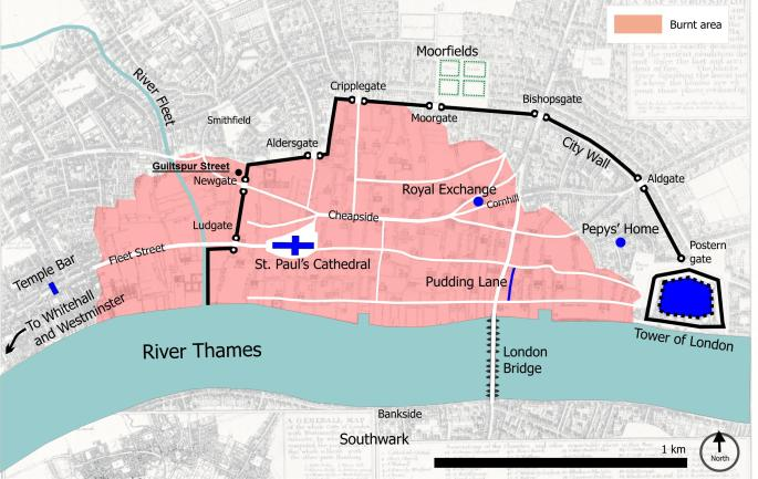 A map of mid-17th century London showing the extent of the Great Fire of 1666 plus the relevant location of Guiltspur Street