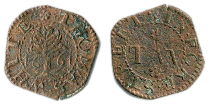 A farthing token issued by Thomas White operating from the sign of the Tree or Bush in Fore Street, London.