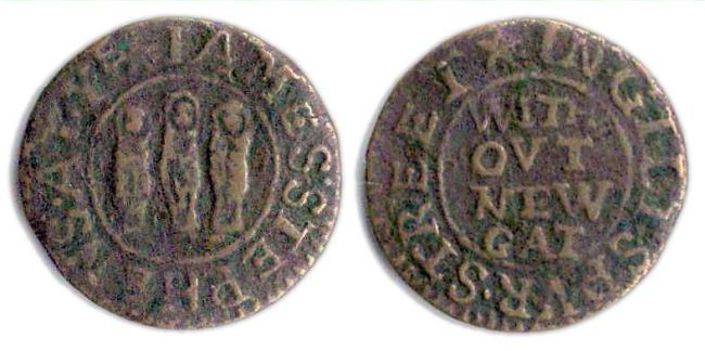 A farthing token issued by James Stephens operating from the sign of the Three Nuns in Giltspur Street, London.