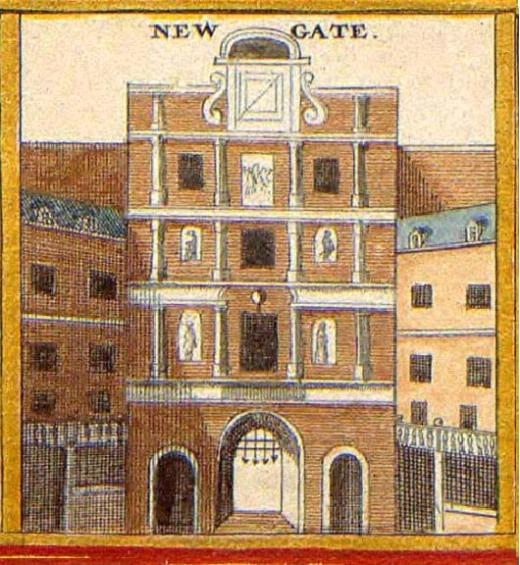 The Newgate entrance to the City of London from an engraving by Wenceslaus Hollar (c.1650)