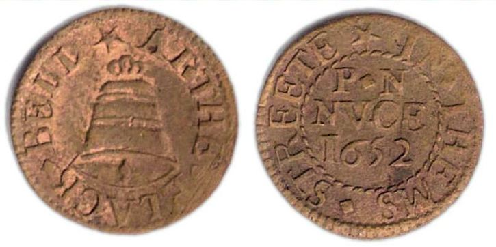 A farthing token issued by a tradesman operating from the sign of the Black Bell in Thames Street, London.