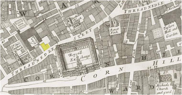 The location of the Crown tavern in Threadneedle Street (London)  opposite the Royal Exchange (c.1720)
