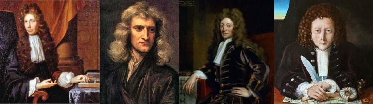 Contemporaies of Samuel Pepys who were regulars in the Crown Tavern - From left to right are Robert Boyle, Isaac Newton, Christopher Wren and Robert Hooke