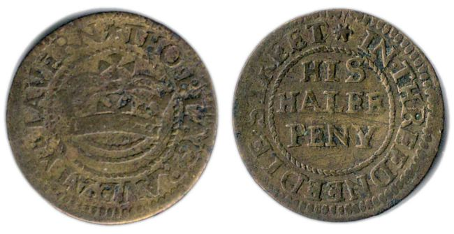 A half penny token issued in the name of Thomas Blagrave of Threadneedle Street, London