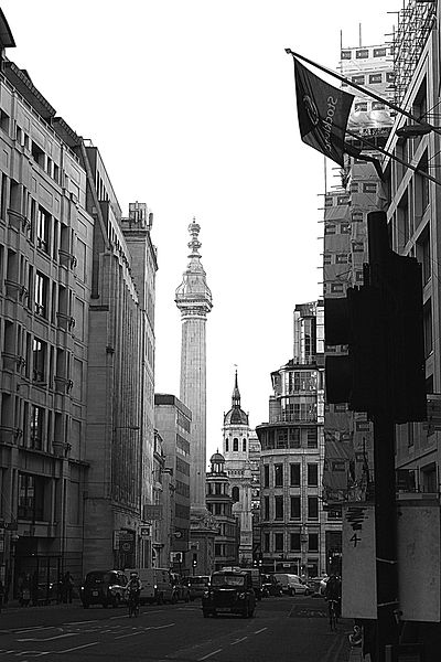 A view of the south end of Gracechurch Street with the Monument (marking the starting point of the Great Fire of London) clearly in full view.