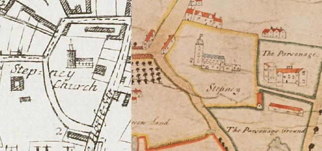 Comparative maps showing the growth of the parish burial ground of St. Dunstan and All Saints, Stepney between c.1615 (right) and c.1720 (left) due to the excessive burial demands brought about by sucessive outbreaks of Plague in 1625 and 1665
