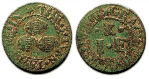 A farthing token issued in the name of the Three Tuns tavern in Gracechurch Street, London