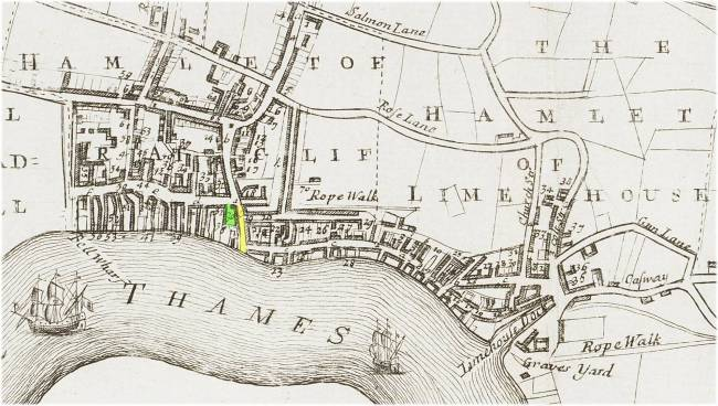 Ratcliff in the parish of Stepney (c.1720) Indicating Ratcliff Cross area (in yellow) and Swan Yard (in green)