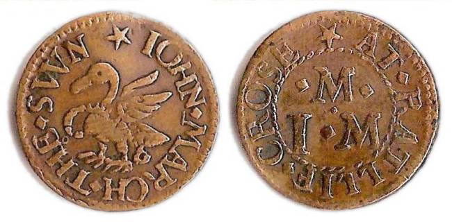 A farthing token issued in the name of the John March of the Swan  in Ratcliff Cross in the parish of Stepney