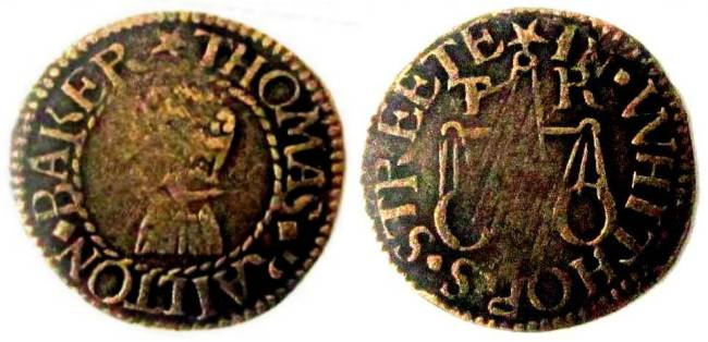 A farthing token issued in the name of the Thomas Railton of White Horse Street, Ratcliff in the parish of Stepney