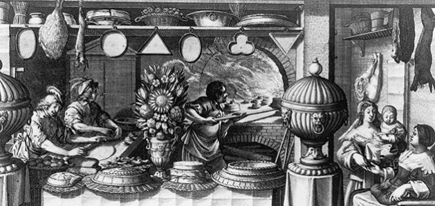 "Party of Abraham Bosse's mid-17th century print entitled ""The Pastry Shop"""