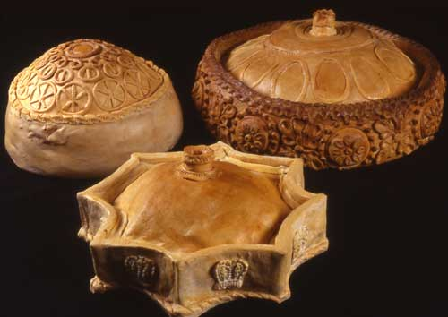 Three decorated pies made using 17th century designs