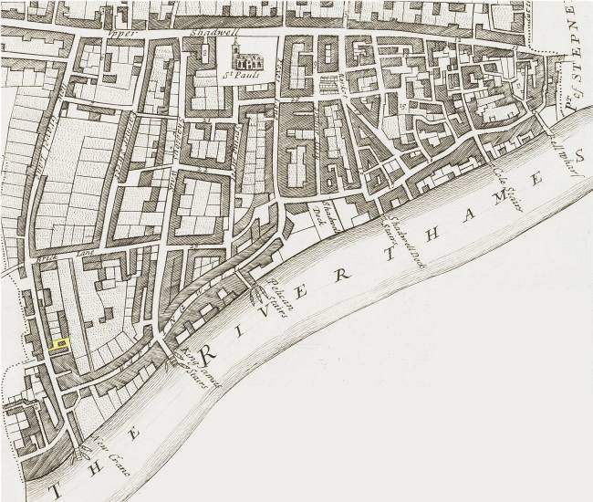 A map of Shadwell (c.1720) showing the location of Sun Alley near New Crane Stairs