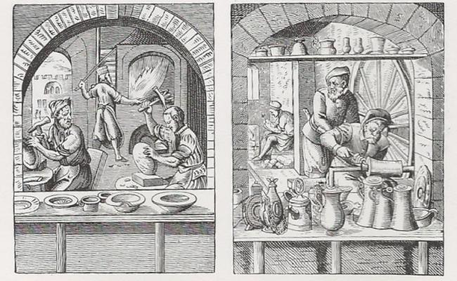Images of pewterers' workshops from mid-16th Century Germany