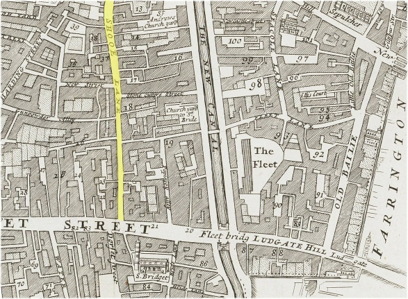 A map showing part of the parish of St. Bride's Fleet Street (c.1720) indicating the southern end of Shoe Lane
