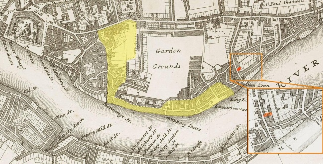 A map of Wapping (c.1720) showing the location of Sun Alley in the adjacent district of Lower Shadwell