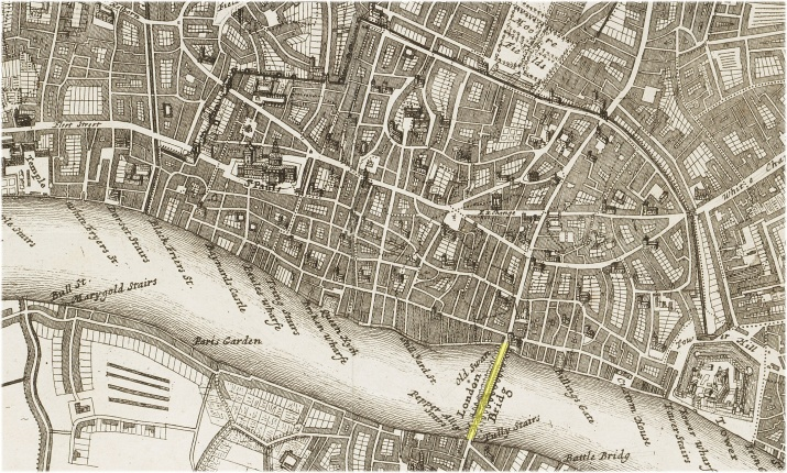 A map of London & The South Bank showing Old London Bridge (c.1720).